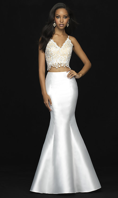 Image of lace-bodice two-piece long mermaid prom dress. Style: NM-18-703 Detail Image 1