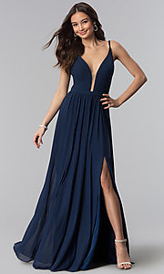 Image of long chiffon navy blue v-neck bridesmaid dress. Style: NM-18-570 Front Image