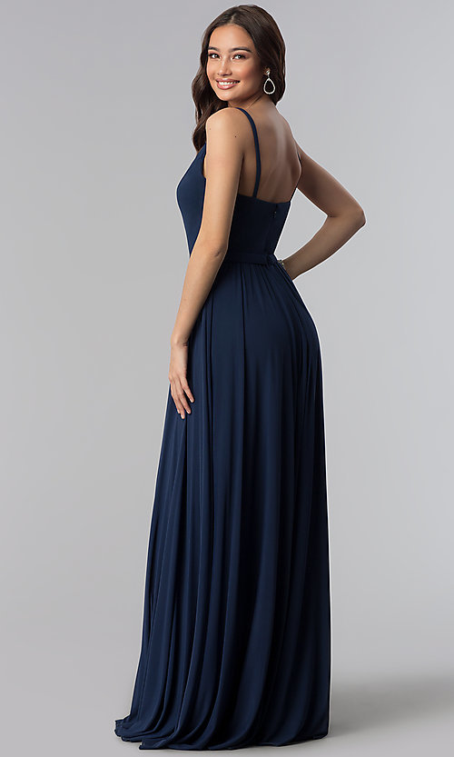Image of long chiffon navy blue v-neck bridesmaid dress. Style: NM-18-570 Back Image