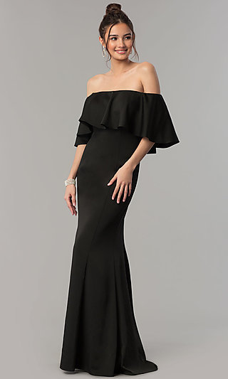 Black Ruffle Prom Dress