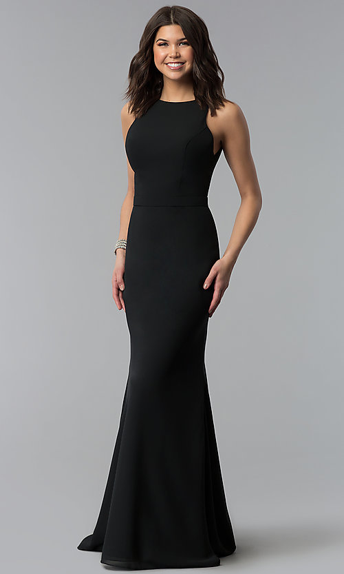 ae39414bb79f Image of long black bateau-neck chiffon bridesmaid dress. Style: NM-18