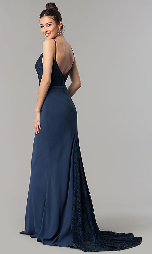Navy Blue Lace Bodice Long Chiffon Formal Dress