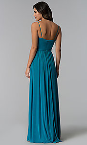 Image of long formal bridesmaid dress with plunging v-neck. Style: NM-BM-1557 Detail Image 3