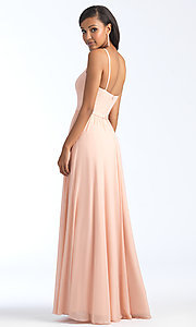 Image of long formal bridesmaid dress with plunging v-neck. Style: NM-BM-1557 Back Image
