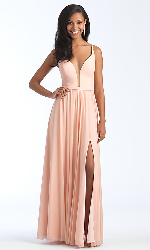 Image of long formal bridesmaid dress with plunging v-neck. Style: NM-BM-1557 Front Image
