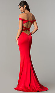 Image of off-the-shoulder long prom dress with open back. Style: ZG-31135 Front Image