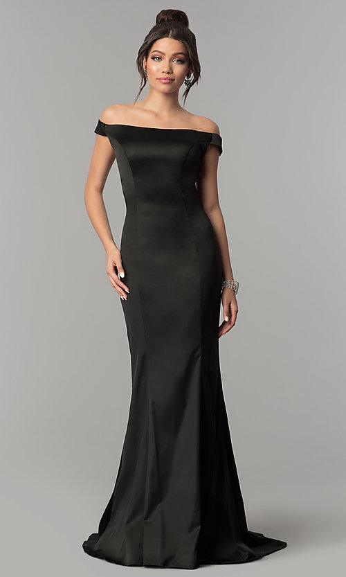 Image of off-the-shoulder long prom dress with open back. Style: ZG-31135 Detail Image 2