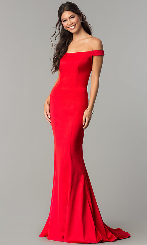 Image of off-the-shoulder long prom dress with open back. Style: ZG-31135 Back Image