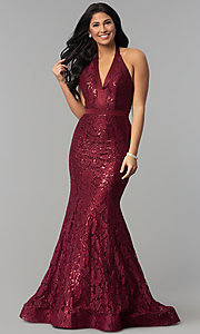 Image of sequin-lace long v-neck halter prom dress. Style: CD-1848 Front Image