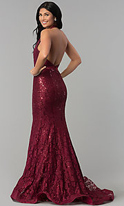 Image of sequin-lace long v-neck halter prom dress. Style: CD-1848 Back Image