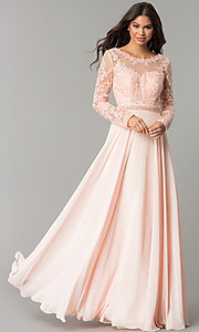 Image of long-sleeved bateau-neck embroidered prom dress. Style: CD-GL-G755 Front Image