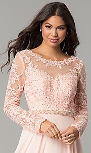 Image of long-sleeved bateau-neck embroidered prom dress. Style: CD-GL-G755 Detail Image 1