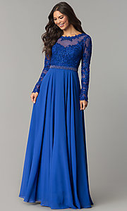 Image of long-sleeved bateau-neck embroidered prom dress. Style: CD-GL-G755 Detail Image 2
