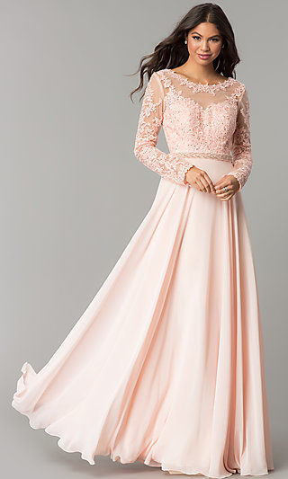 Long-Sleeved Bateau-Neck Embroidered Prom Dress