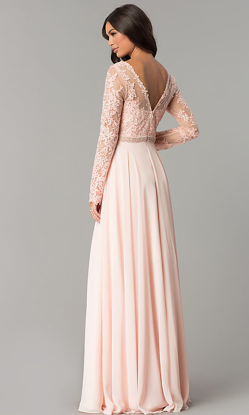 Image of long-sleeved bateau-neck embroidered prom dress. Style: CD-GL-G755 Back Image