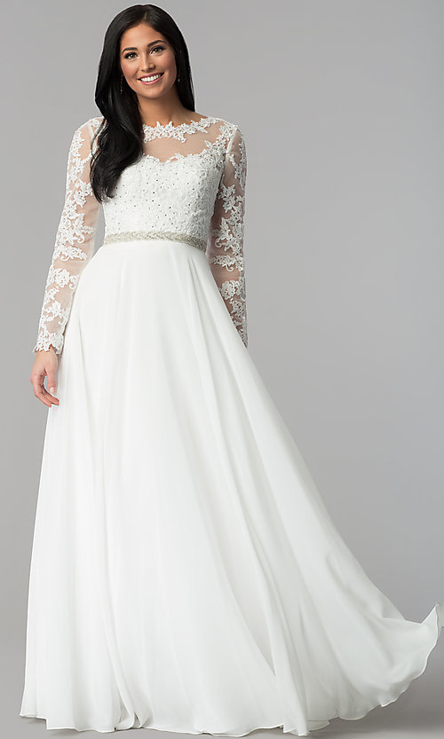 Image of long-sleeved bateau-neck embroidered prom dress. Style: CD-GL-G755 Detail Image 3