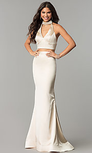 Image of two-piece open-back halter long mermaid prom dress. Style: CD-GL-G770 Front Image