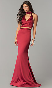 Image of two-piece open-back halter long mermaid prom dress. Style: CD-GL-G770 Detail Image 2