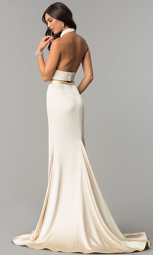Image of two-piece open-back halter long mermaid prom dress. Style: CD-GL-G770 Back Image