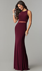 Image of long formal dress with sheer-illusion insets. Style: CD-GL-G772 Front Image