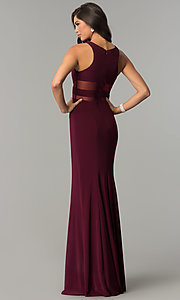 Image of long formal dress with sheer-illusion insets. Style: CD-GL-G772 Back Image