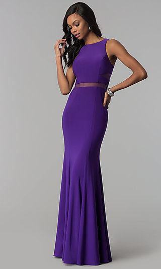 Long Formal Dress with Sheer-Illusion Insets