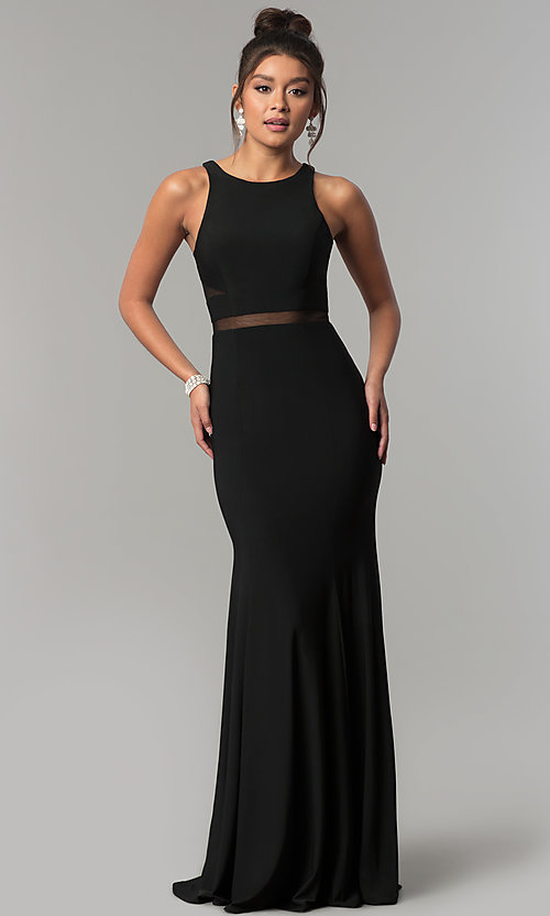 Image of long formal dress with sheer-illusion insets. Style: CD-GL-G772 Detail Image 2