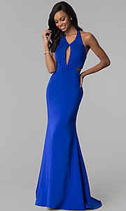 Image of halter long formal prom dress with side cut outs. Style: CD-GL-G774 Front Image