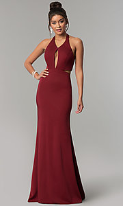 Image of halter long formal prom dress with side cut outs. Style: CD-GL-G774 Detail Image 1