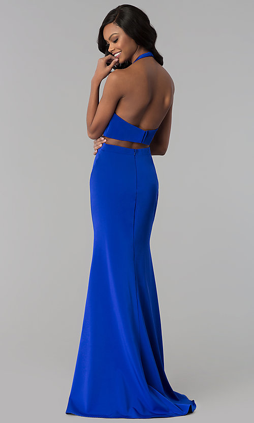 Image of halter long formal prom dress with side cut outs. Style: CD-GL-G774 Back Image
