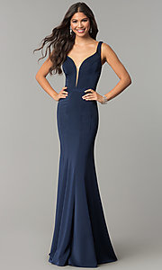 Image of deep-v-neck long formal prom dress with cut out. Style: CD-GL-G776 Front Image