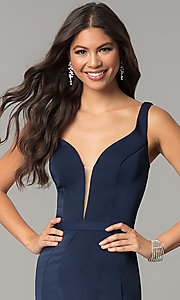 Image of deep-v-neck long formal prom dress with cut out. Style: CD-GL-G776 Detail Image 1