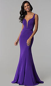Image of deep-v-neck long formal prom dress with cut out. Style: CD-GL-G776 Detail Image 2