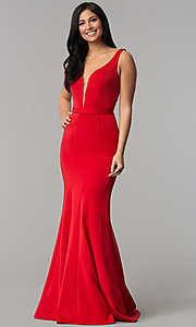 Image of deep-v-neck long formal prom dress with cut out. Style: CD-GL-G776 Detail Image 3