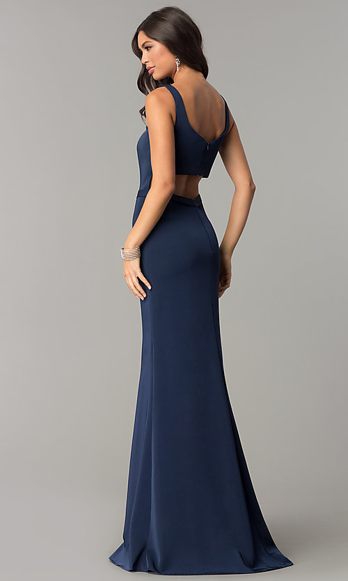 Image of deep-v-neck long formal prom dress with cut out. Style: CD-GL-G776 Back Image