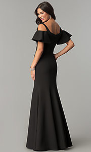 Image of cold-shoulder long formal dress with flutter sleeves. Style: CD-GL-G777 Back Image