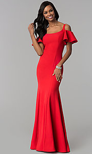 Image of cold-shoulder long formal dress with flutter sleeves. Style: CD-GL-G777 Detail Image 1