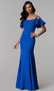 Image of cold-shoulder long formal dress with flutter sleeves. Style: CD-GL-G777 Detail Image 2