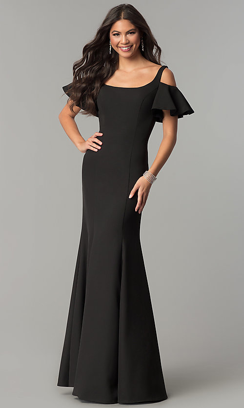 Image of cold-shoulder long formal dress with flutter sleeves. Style: CD-GL-G777 Front Image