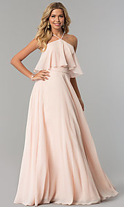 Image of long chiffon formal dress with popover flounce. Style: CD-GL-G778 Detail Image 1