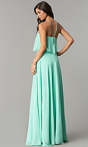 Image of long chiffon formal dress with popover flounce. Style: CD-GL-G778 Back Image