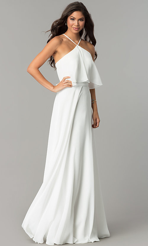 Image of long chiffon formal dress with popover flounce. Style: CD-GL-G778 Front Image