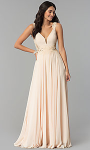 Image of open-back long chiffon formal prom dress with lace. Style: CD-GL-G781 Detail Image 2