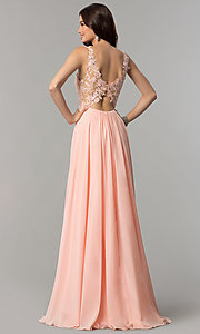 Image of open-back long chiffon formal prom dress with lace. Style: CD-GL-G781 Back Image