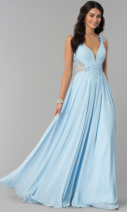 Image of open-back long chiffon formal prom dress with lace. Style: CD-GL-G781 Detail Image 3