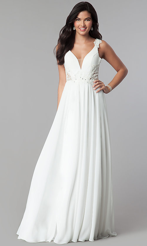 Image of open-back long chiffon formal prom dress with lace. Style: CD-GL-G781 Detail Image 1