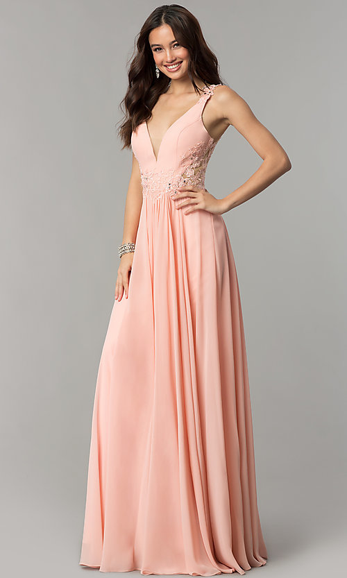 Image of open-back long chiffon formal prom dress with lace. Style: CD-GL-G781 Front Image