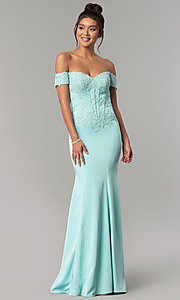 Image of long off-shoulder embroidered mermaid prom dress. Style: CD-GL-G786 Detail Image 1