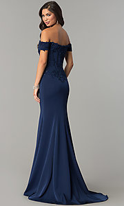 Image of long off-shoulder embroidered mermaid prom dress. Style: CD-GL-G786 Back Image