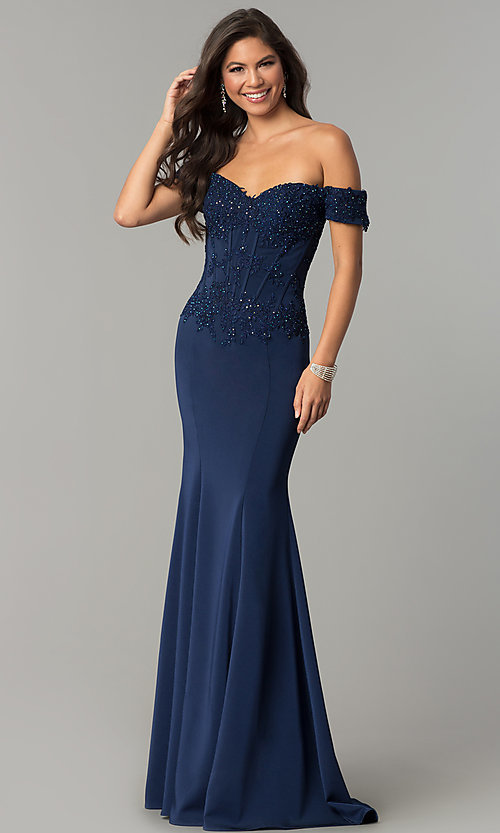 Image of long off-shoulder embroidered mermaid prom dress. Style: CD-GL-G786 Front Image